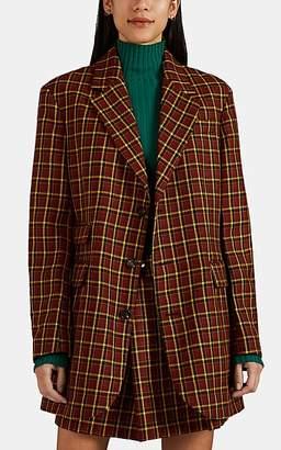 PLAN C Women's Plaid Wool Oversized Three-Button Blazer - Red