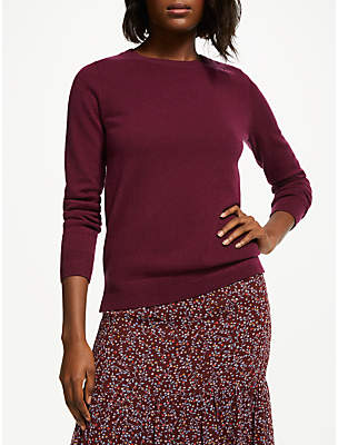 Boden Cashmere Crew Neck Jumper, Mulled Wine