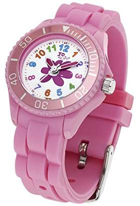 Jo for Girls Flower Quartz Watch for Girl's 50m Water Resistant with Watermelon Pink Silicone Strap
