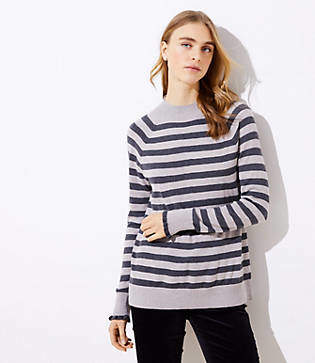 LOFT Striped Ruffle Cuff Mock Neck Sweater