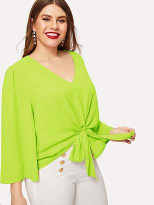Shein Plus Neon Lime Knot Front Top
