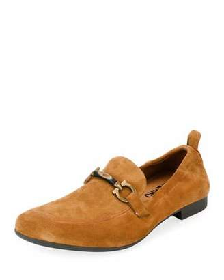 Salvatore Ferragamo Men's Suede Elastic-Back Gancini-Bit Loafer