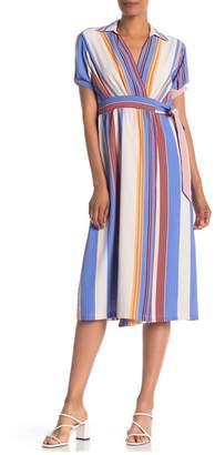 ONE ONE SIX Stripe Wrap Midi Dress
