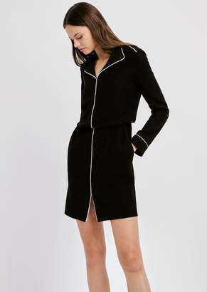 Emporio Armani Dress In Crepe With V-Neck And Small Slit