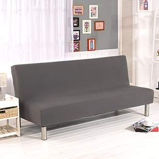 Yunhigh Solid Color Armless Sofa Cover Stretch Sofa Bed Slipcover Protector Elastic Spandex Modern Simple Folding Couch Sofa Shield Futon Cover Grey