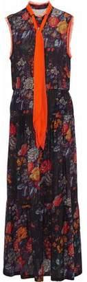 Raquel Allegra Prairie Pussy-Bow Floral-Print Silk-Gauze Maxi Dress
