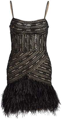 Gustavo Cadile Beaded Feather Hem Party Dress