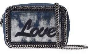 Stella McCartney Falabella Embroidered Bleached Denim Shoulder Bag