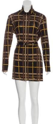Burberry Belted Merino Wool Dress Brown Belted Merino Wool Dress