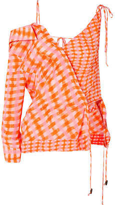 Altuzarra Nola Asymmetric Checked Silk-georgette Blouse - Orange