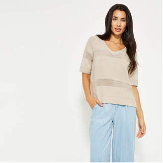 Joe Fresh Women's Stitch V-Neck Pullover, Ash Grey (Size XL)