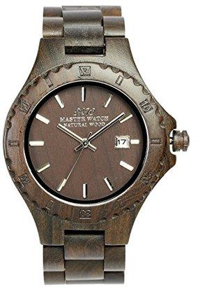 [マスターウォッチ] MASTER WATCH 天然木材 黒壇使用 腕時計 ウォッチ アナログ カレンダー ダークブラウン メンズ レディース