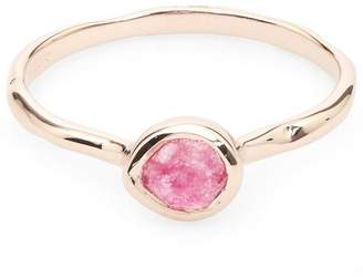 Monica Vinader Rose Gold-Plated Pink Quartz Small Siren Stacking Ring