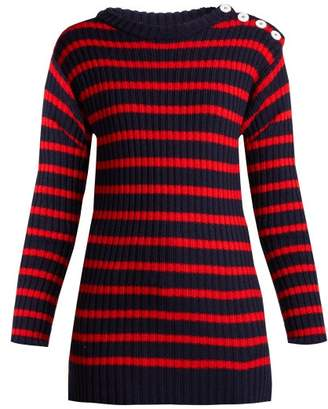 La Fetiche - Godard Striped Lambswool Fishermans Sweater - Womens - Navy Multi