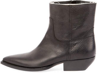 Saint Laurent Theo Eli Leather Ankle Boots, Black