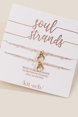 francesca's Kitsch Crescent Soul Strand Charm Bracelet - Blush