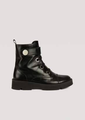 Emporio Armani Leather Ankle Boot With Ankle Strap