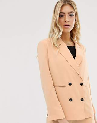 Parallel Lines soft tailored blazer with button detail in caramel