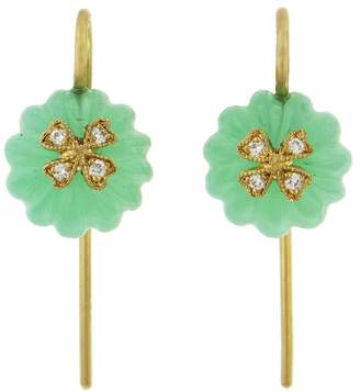 Cathy Waterman Chrysoprase Diamond Wildflower Bead Earrings - Yellow Gold