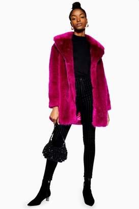 Topshop Womens Luxe Faux Fur Coat