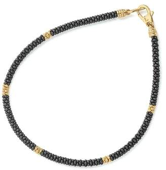 Lagos Gold & Black Caviar Collection 18K Gold & Ceramic Rope Bracelet