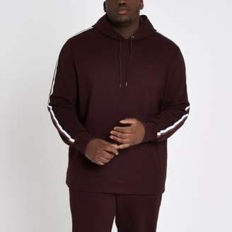 River Island Big and Tall dark red slim fit hoodie