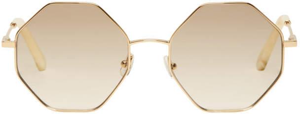Chloe Gold and Off-White Hexagon Sunglasses