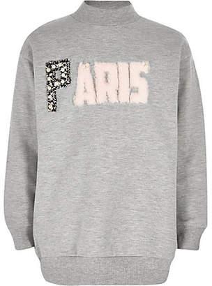 River Island Girls grey 'Paris' sweatshirt
