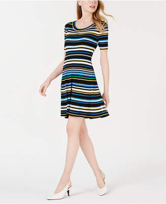 Maison Jules Striped A-Line Sweater Dress