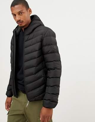 Criminal Damage chevron puffer jacket with hood