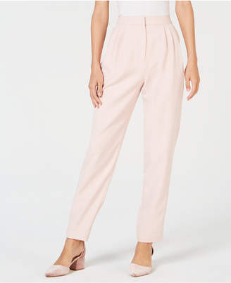 Leyden Pleated Satin-Striped Pants