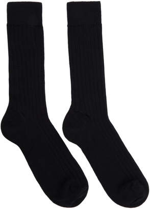 Sunspel Navy Rib Socks