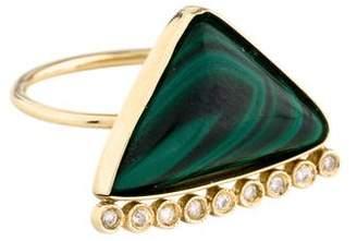 Jacquie Aiche 14K Malachite & Diamond Triangle Ring
