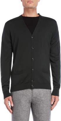 Roberto Collina Green Wool Button Cardigan