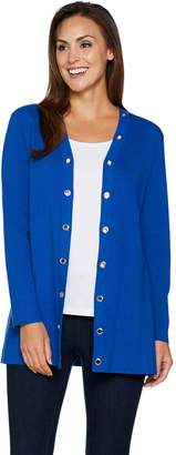Susan Graver Cotton Rayon Sweater Cardigan with Grommet Trim