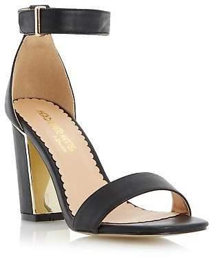 Head Over Heels by Dune Ladies MUSHU Metallic Insert Block Heel Sandal in Black
