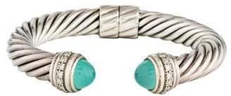 David Yurman Chalcedony & Diamond Cable Hinged Cuff