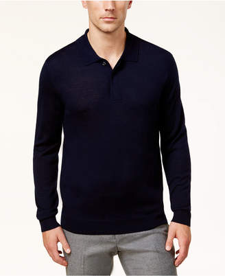 Club Room Men's Long-Sleeve Merino Performance Sweater Polo