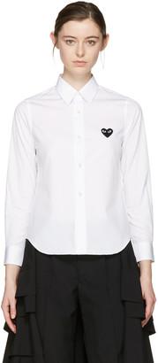 Comme des Garçons Play White Heart Patch Shirt $220 thestylecure.com