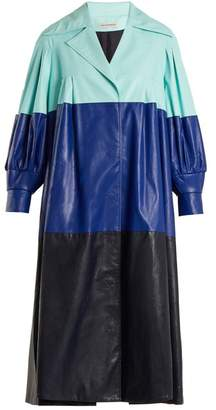 Vika Gazinskaya Pleated colour-block faux-leather coat