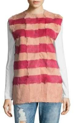 RED Valentino Striped Fur Vest