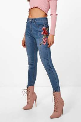 boohoo Seam Front Floral Embroidered Skinny Jeans
