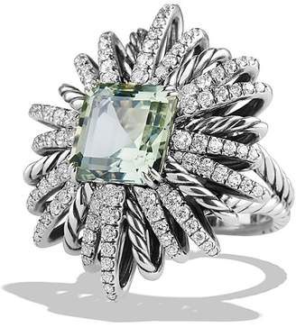 David Yurman Starburst Ring with Diamonds and Prasiolite in Silver $3,500 thestylecure.com