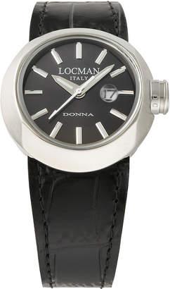 Locman (ロックマン) - LOCMAN ラウンドウォッチ デイト表示 取替ベルト付 ケース:ブラック ベルト:ブラック、ホワイト