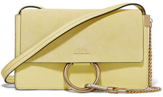 Chloé Faye Small Leather And Suede Shoulder Bag - Yellow