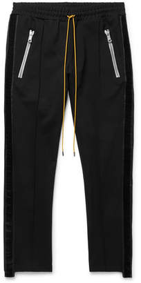Rhude Traxedo Skinny-Fit Velvet-Trimmed Stretch Satin-Jersey Trousers
