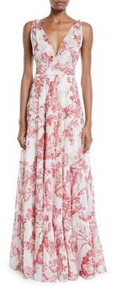 Oscar de la Renta V-Neck Sleeveless Toile-Print Silk A-Line Long Day Dress