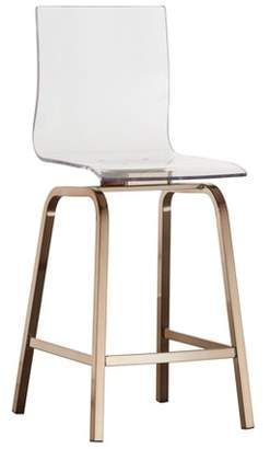 Inspire Q Set of 2 Alta Modern Metallic Counter Height Chair Champagne Gold