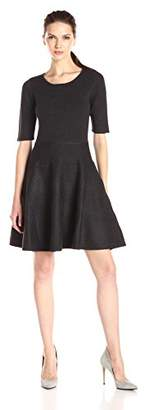 Ivanka Trump Women's Elbow Sleeve Fit and Flare Sweater Dress $38.62 thestylecure.com