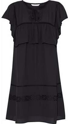 Rebecca Minkoff Giupure Lace-Paneled Ruffled Chiffon Mini Dress